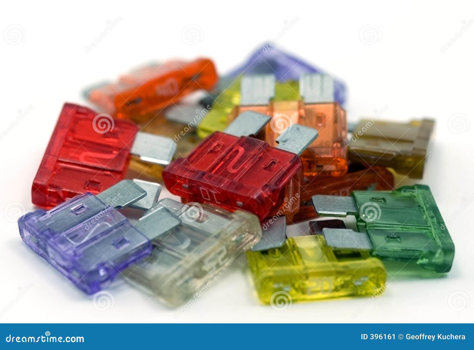 Pile des fusibles colorés