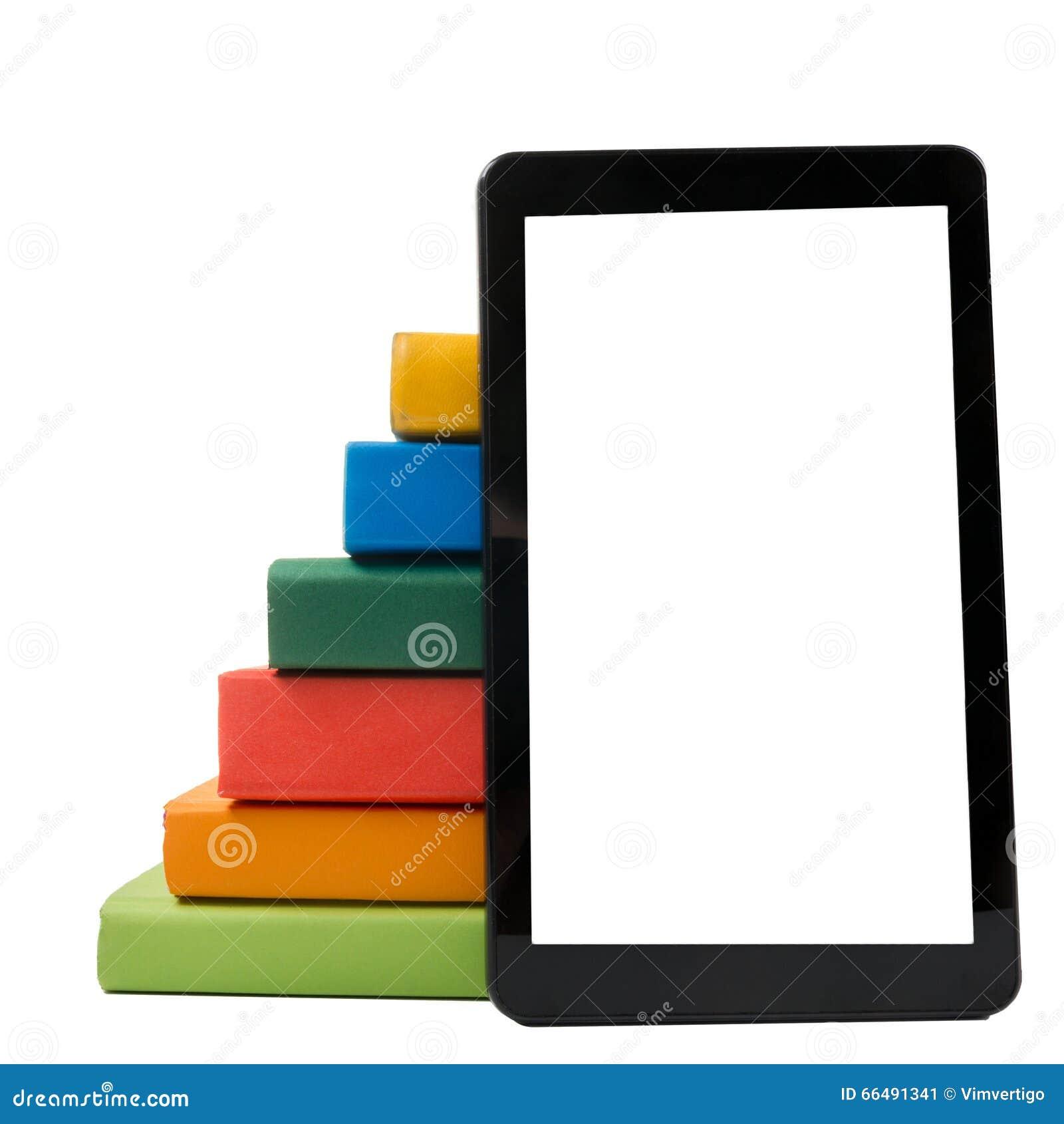 Pile des livres colorés et du lecteur électronique de livre Concept électronique de bibliothèque De nouveau à l école Copiez l es