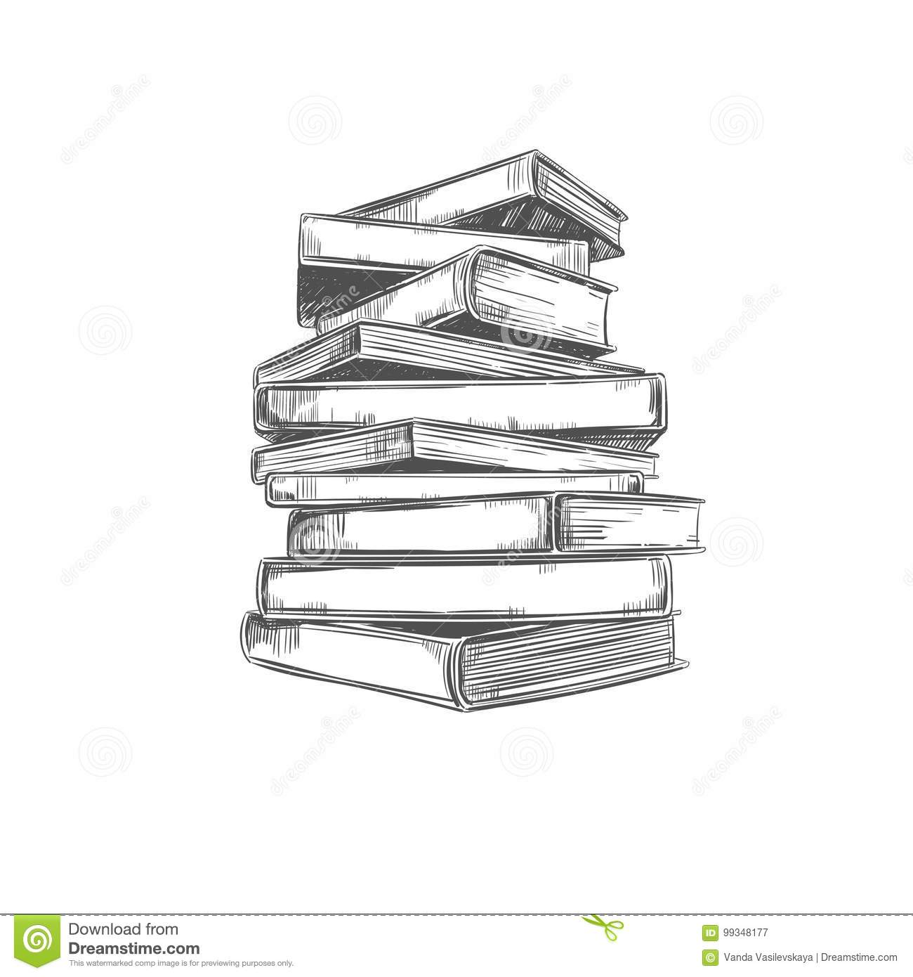 Pile Des Livres Illustration Tiree Par La Main De Vecteur