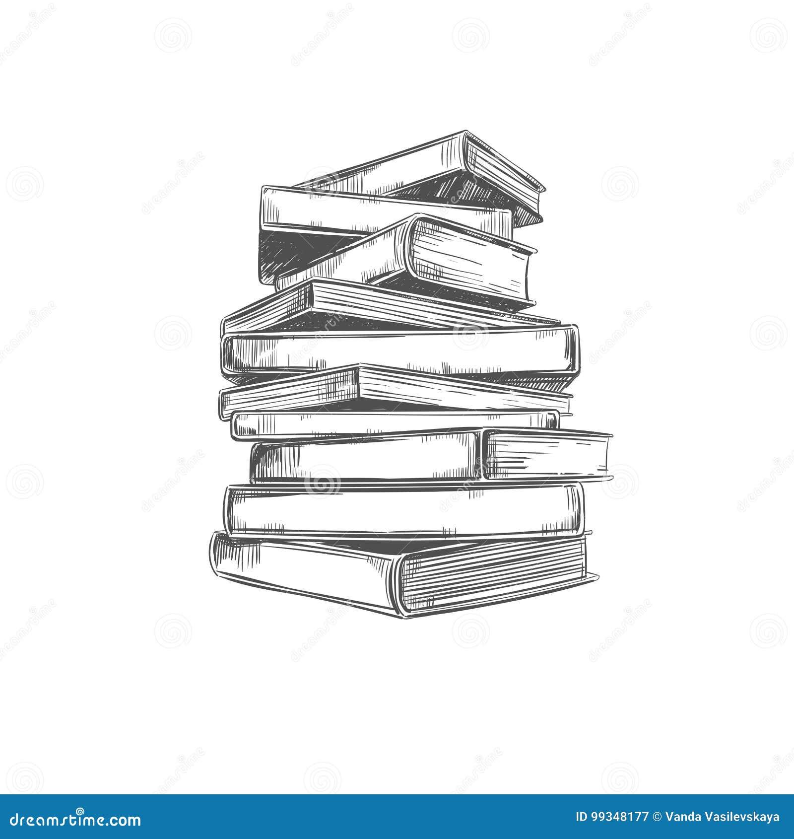 Pile Des Livres Illustration Tiree Par La Main De Vecteur