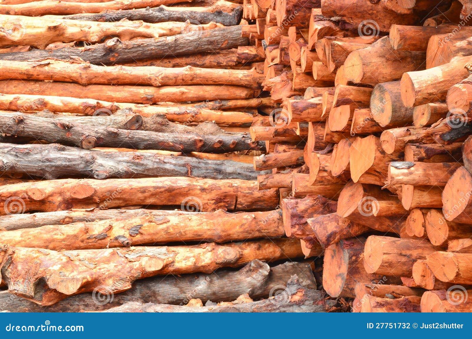 Pile des logarithmes naturels en bois