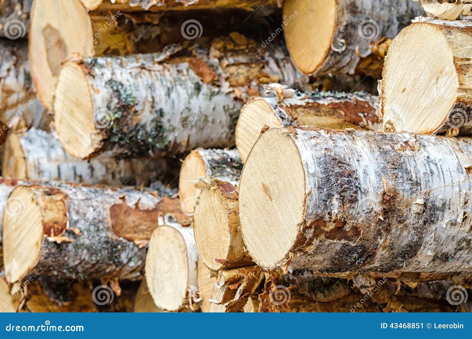 pile des rondins de bois de construction de bouleau image stock image du tron on empil 43468851. Black Bedroom Furniture Sets. Home Design Ideas