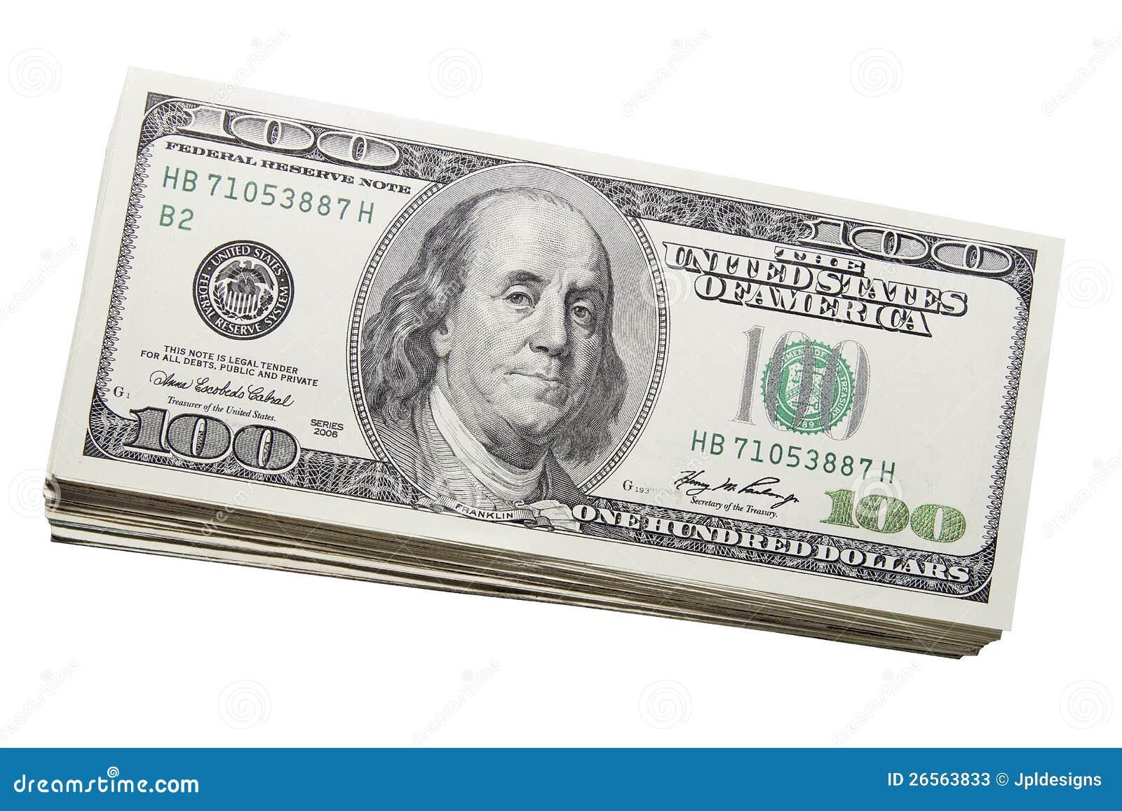 Pile des USA cents devises de billets d un dollar
