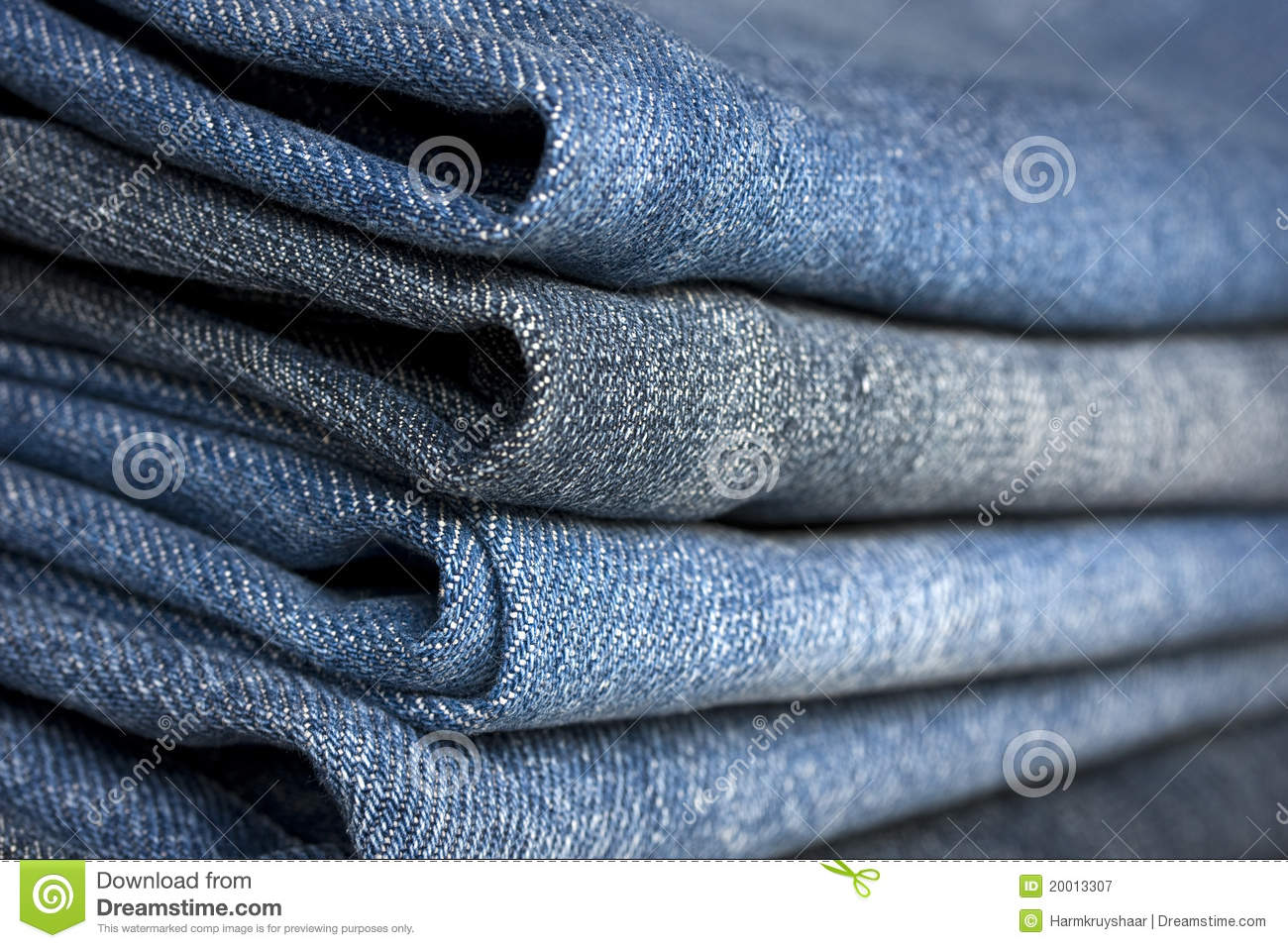 A Pile Of Different Types Of Blue Denim Jeans Clos Royalty