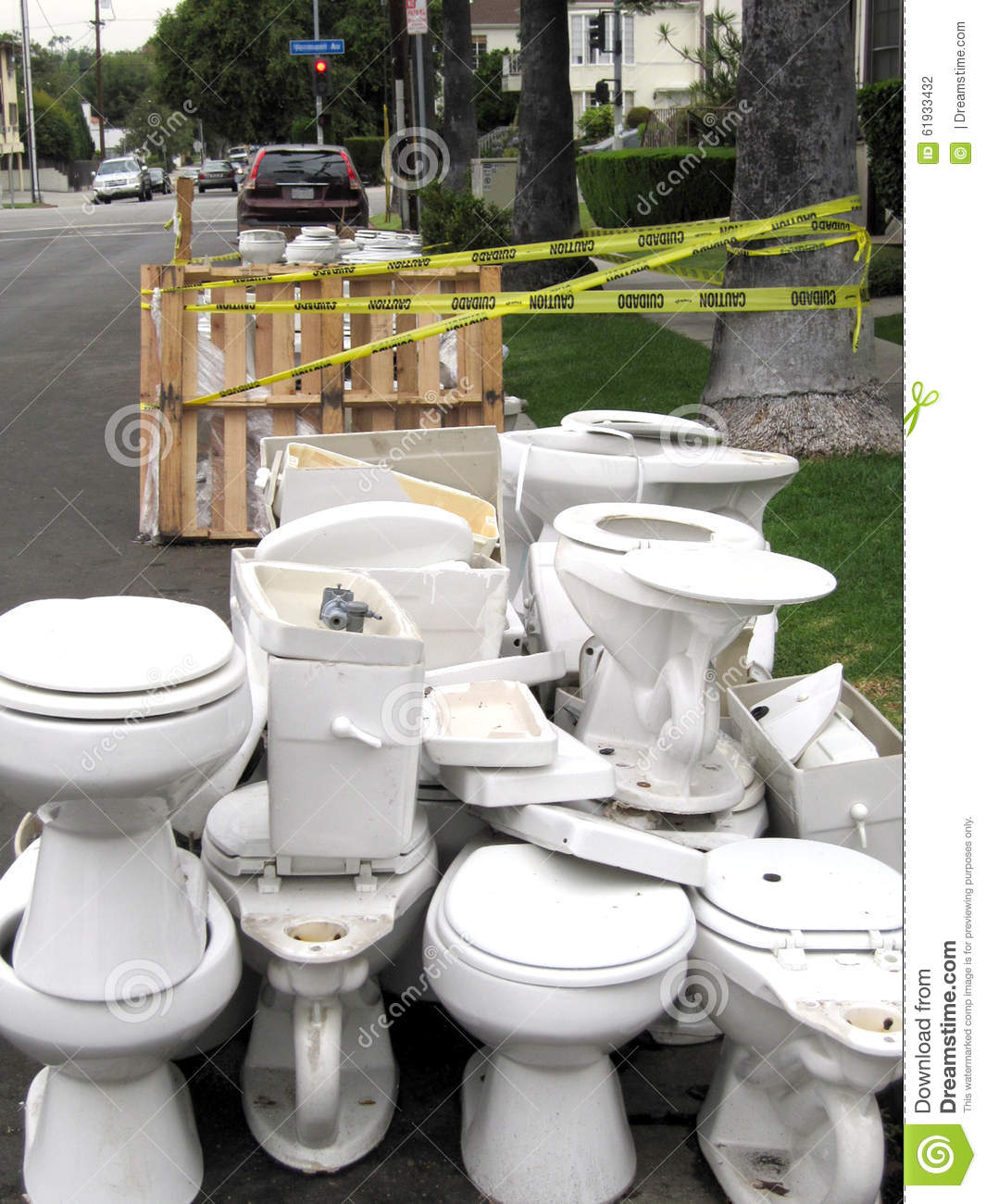 Pile of discarded toilets stock photo. Image of funny - 61933432