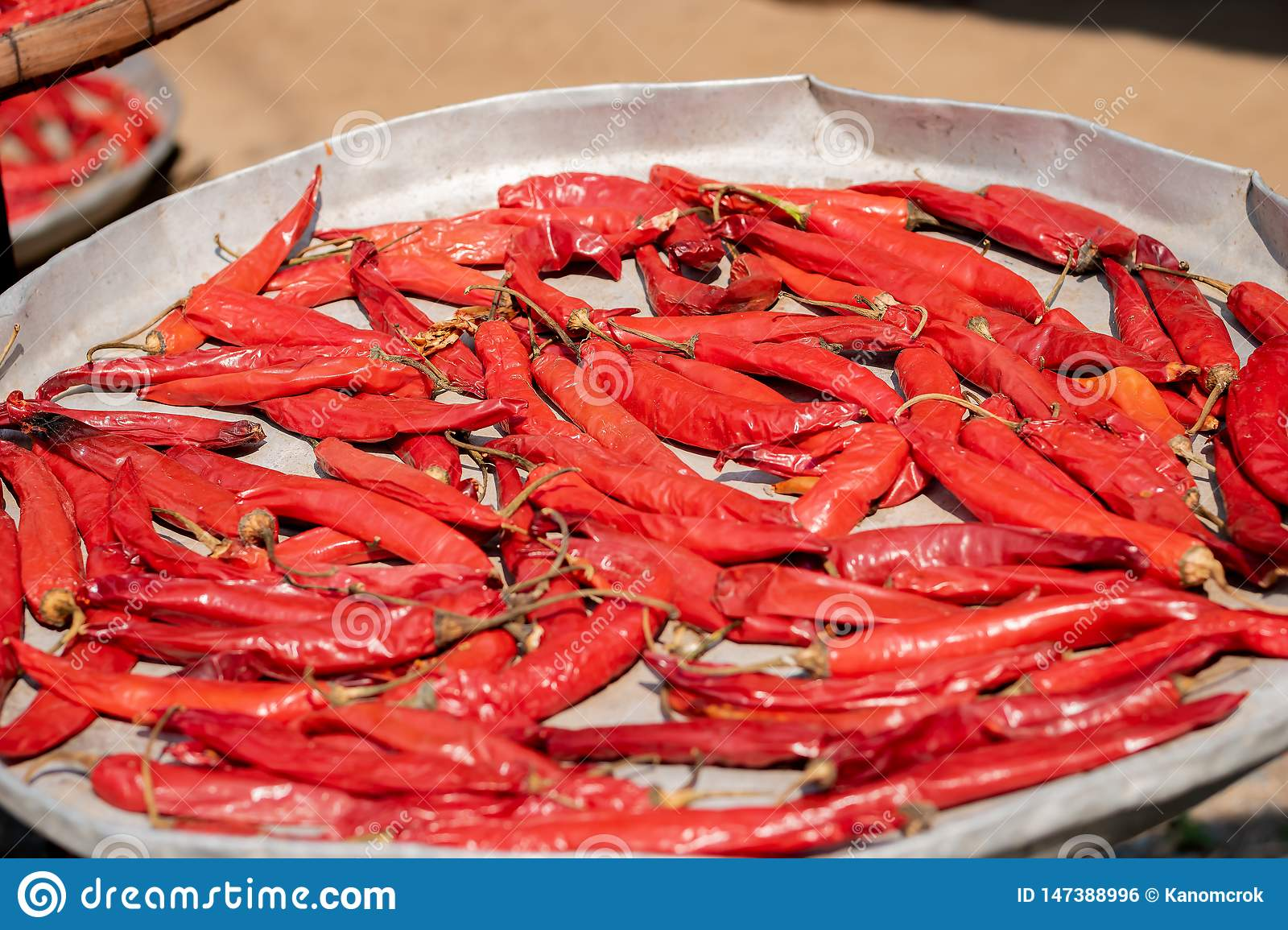 Pile of dried red hot chili peppers