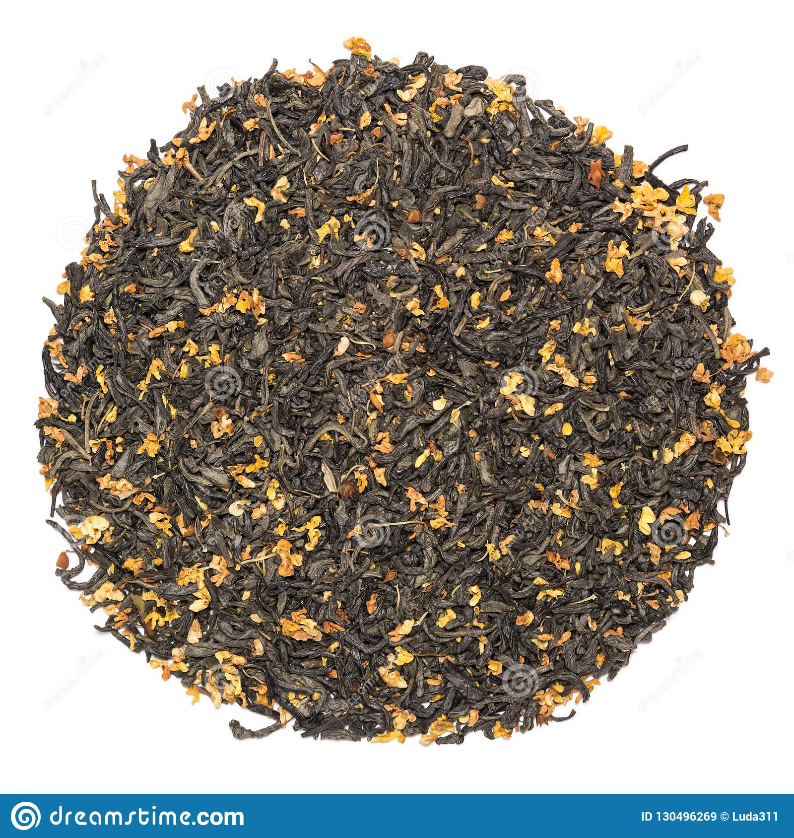Pile of dry green tea with osmanthus isolated on white background