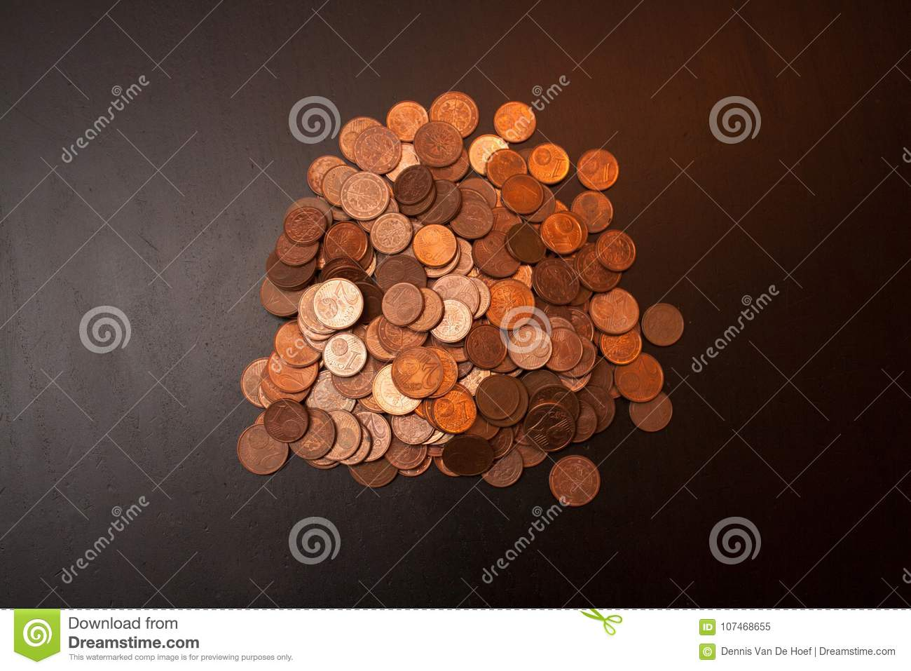A pile of euro cents.