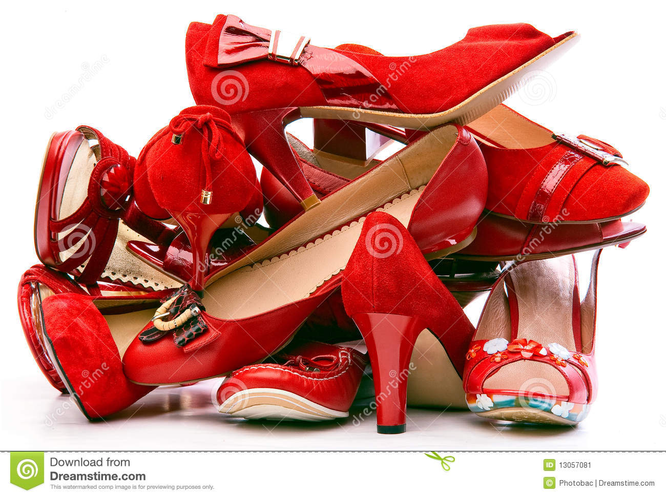 Pile Of Female Red Shoes Stock Image Image 13057081