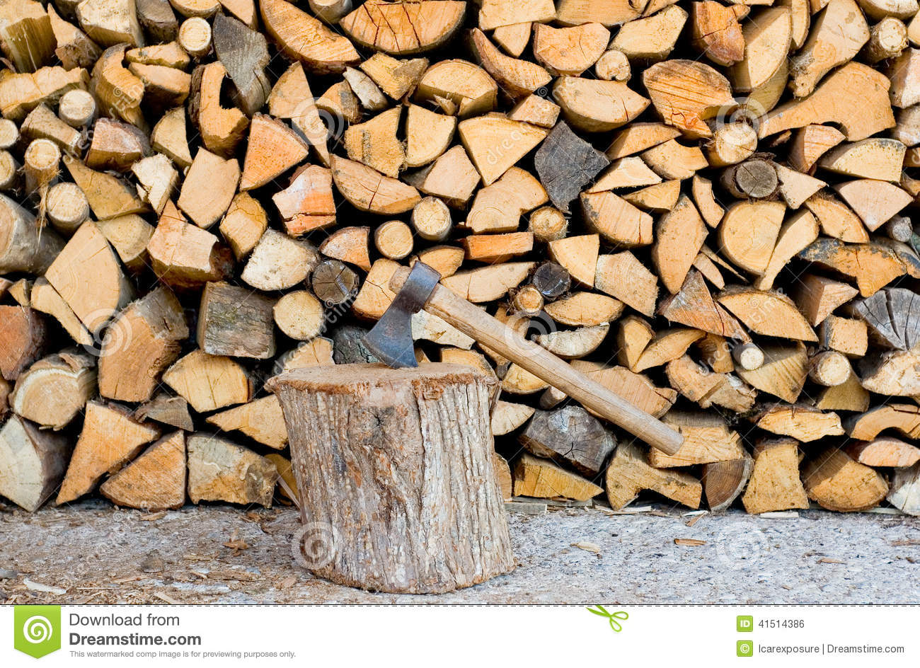 Pile of firewood with axe stock photo image