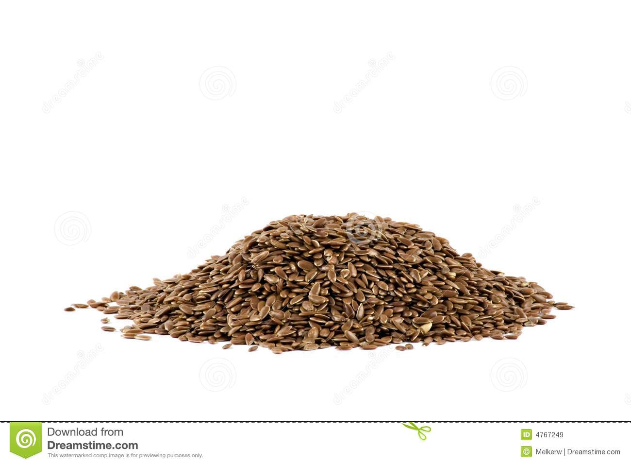 A Pile Of Flax Seed Isolated On White Royalty Free Stock