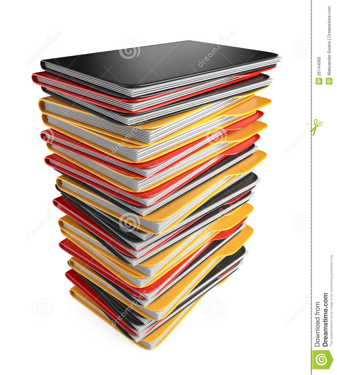 pile of folders and files 3d icon isolated stock illustration