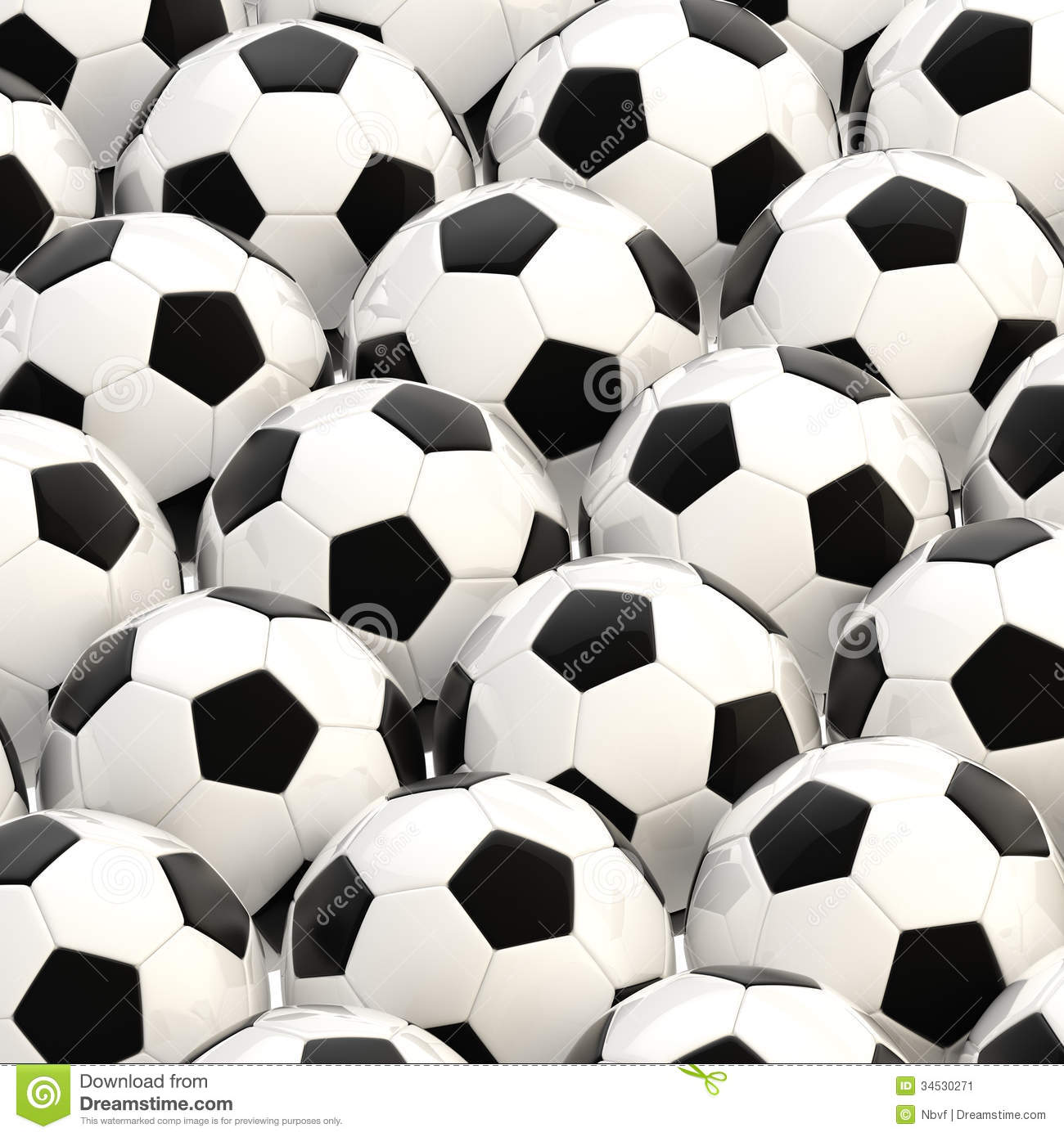 Pile Of Football Balls As A Background Stock Image - Image: 34530271