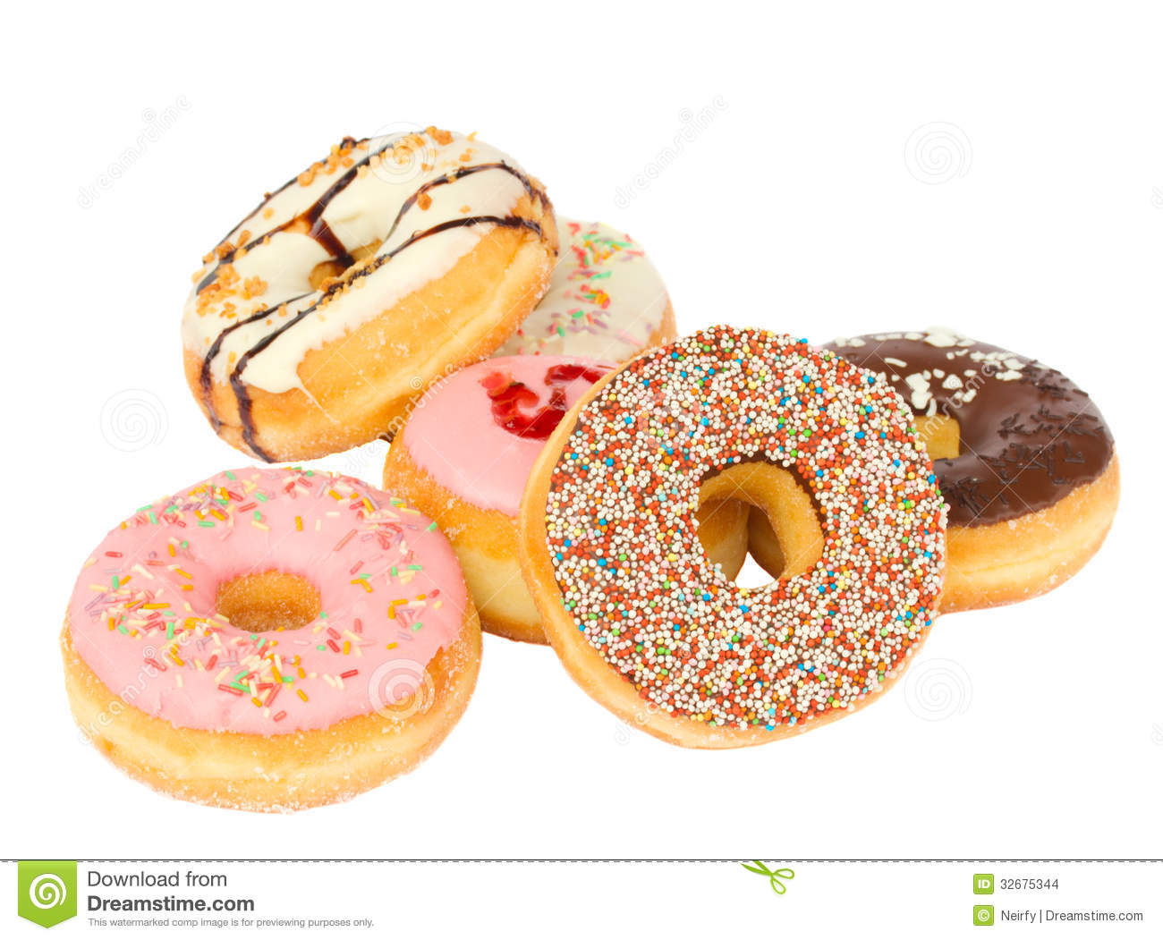 Pile Of Fresh Donuts Stock Images Image 32675344