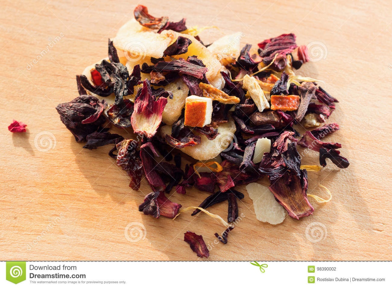 Pile of fruit tea with petals and dry fruit e composition of the royalty free stock photo izmirmasajfo Images