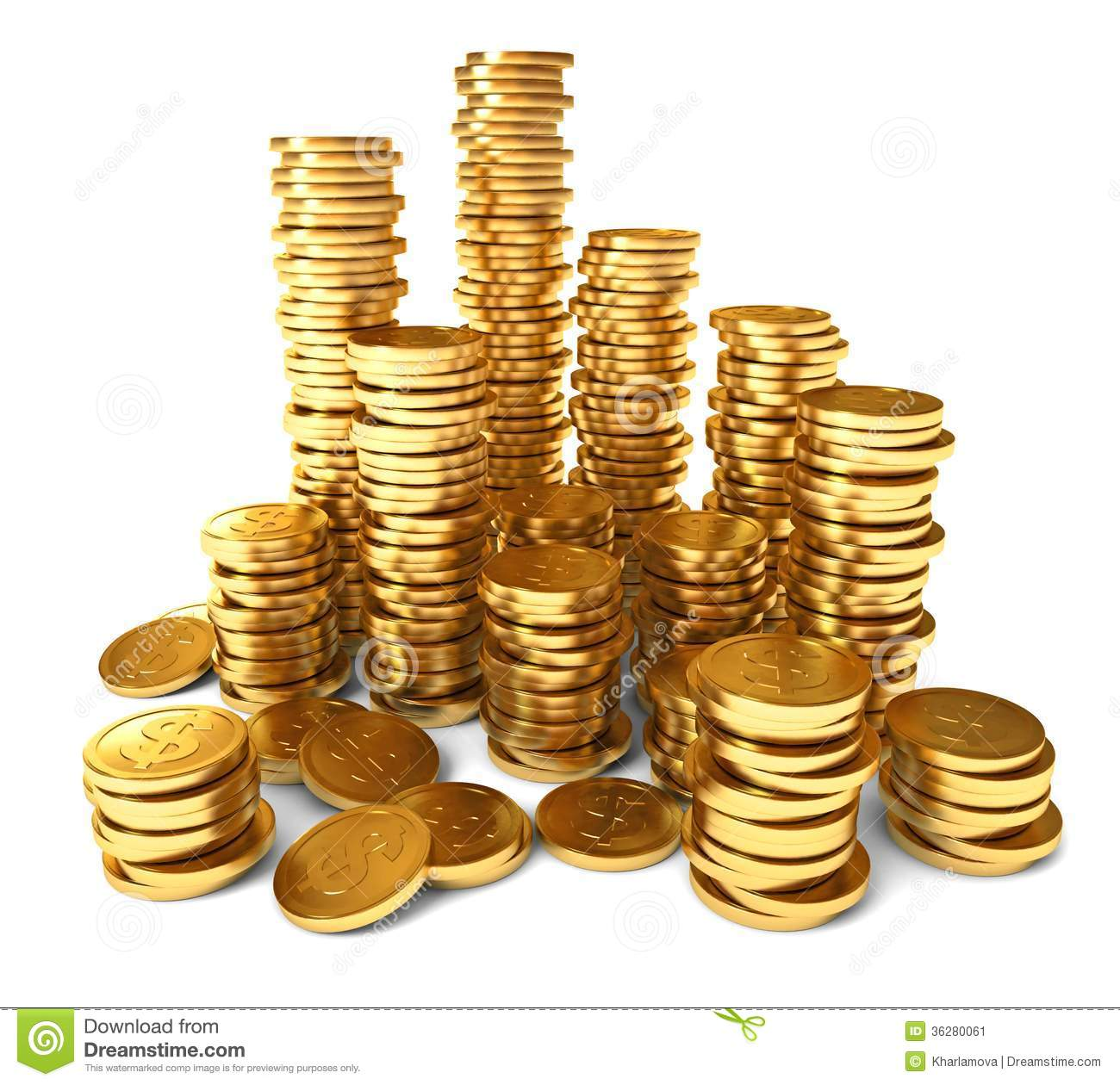 Gold coin Stock illustration Clip art  Pile of gold coins