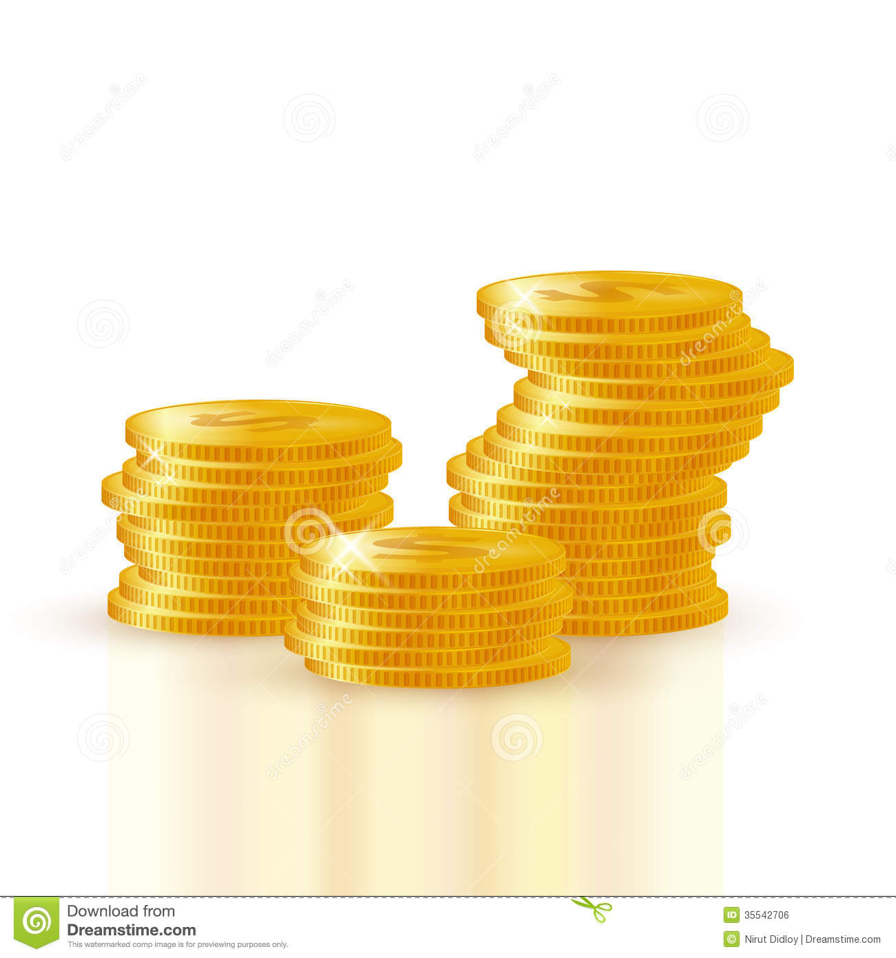 Pile of gold coins stock vector. Image of treasure ...