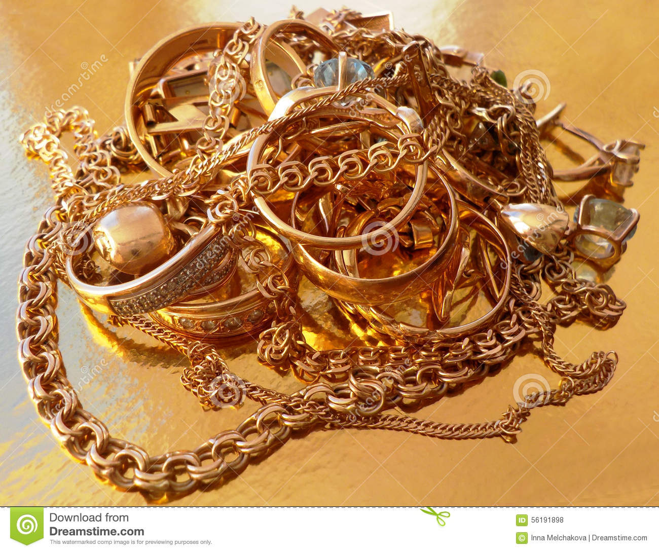 Pile of gold jewelry stock photo. Image of chain, diamond - 56191898