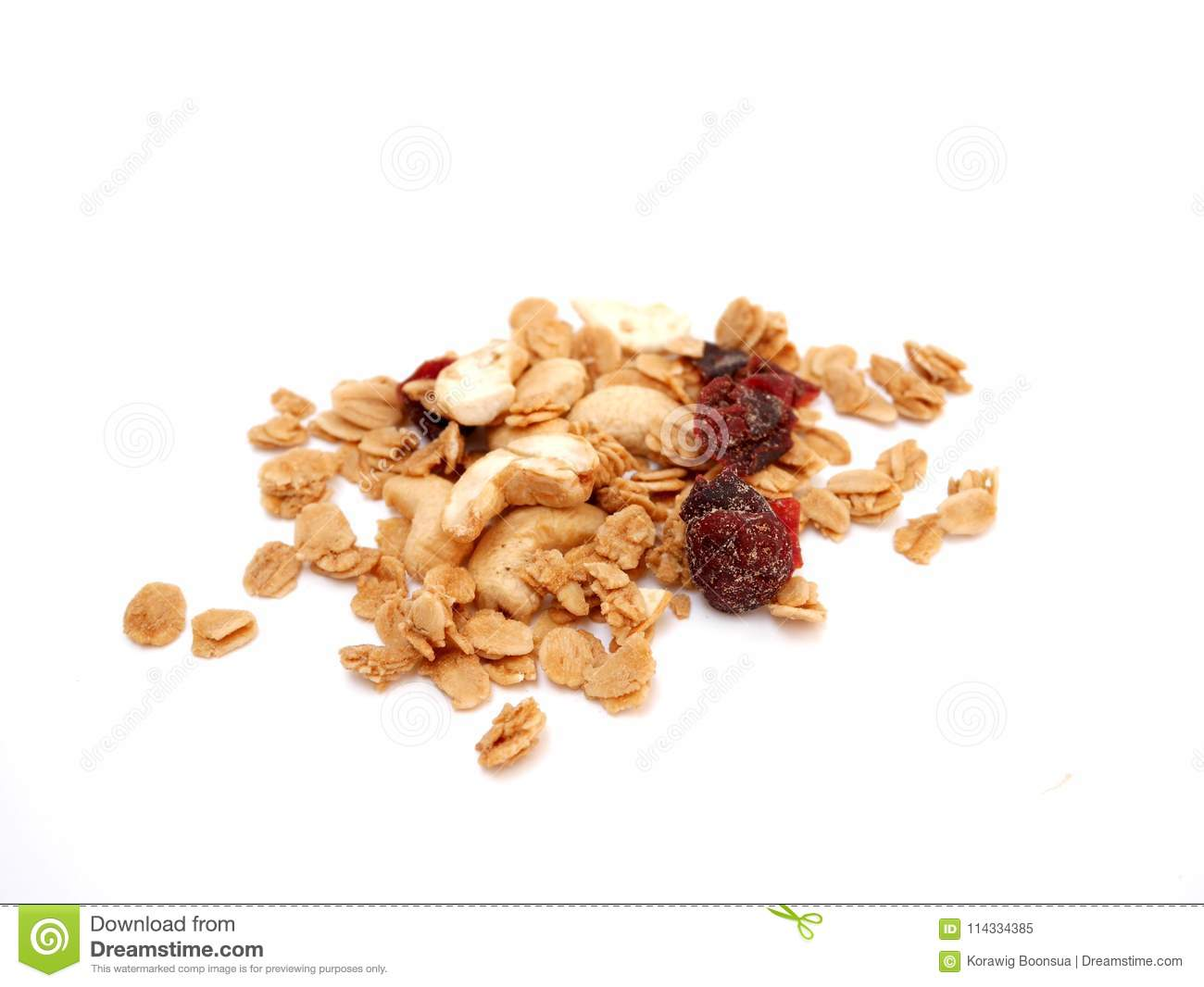 Pile of granola cereal on isolated