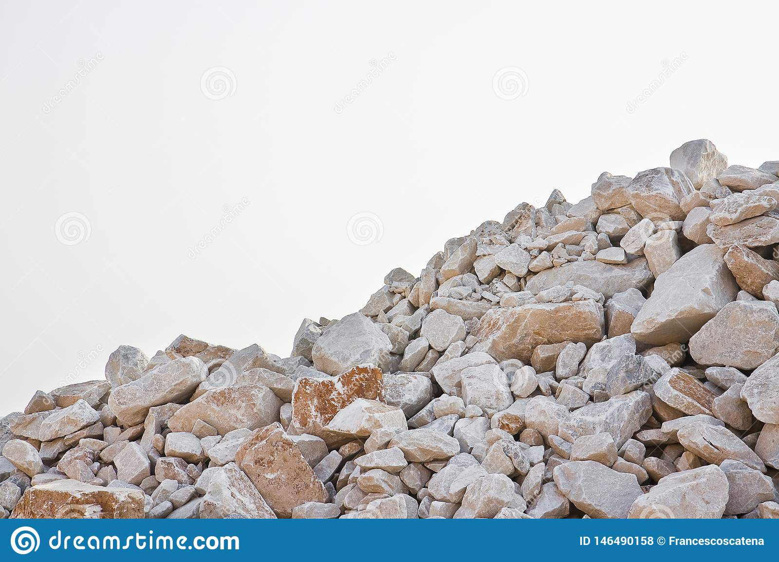 Pile Of Gravel, Stones And Cliffs Of Different Sizes On