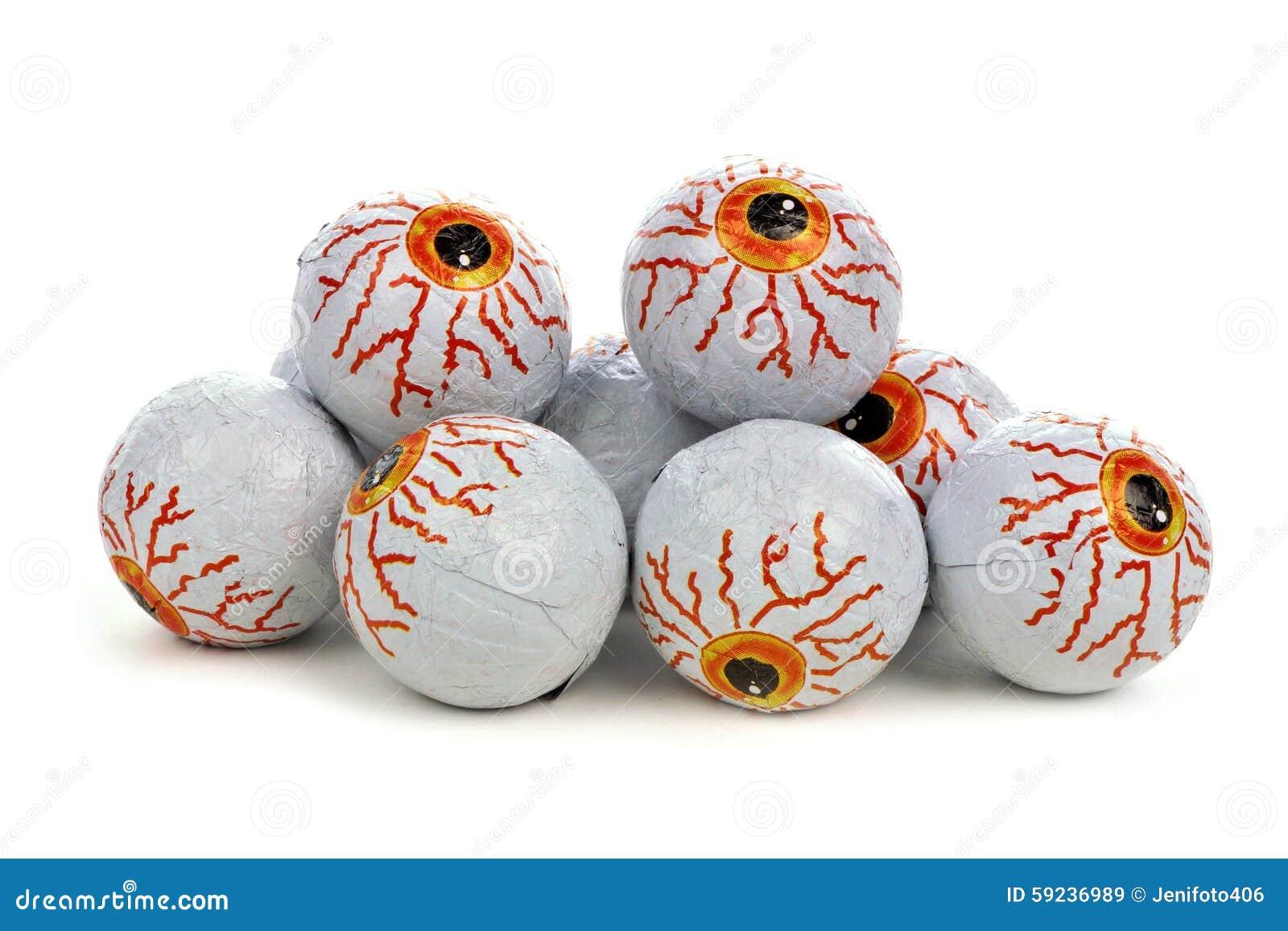 Pile Of Halloween Candy Eyeballs Over White Stock Image ...