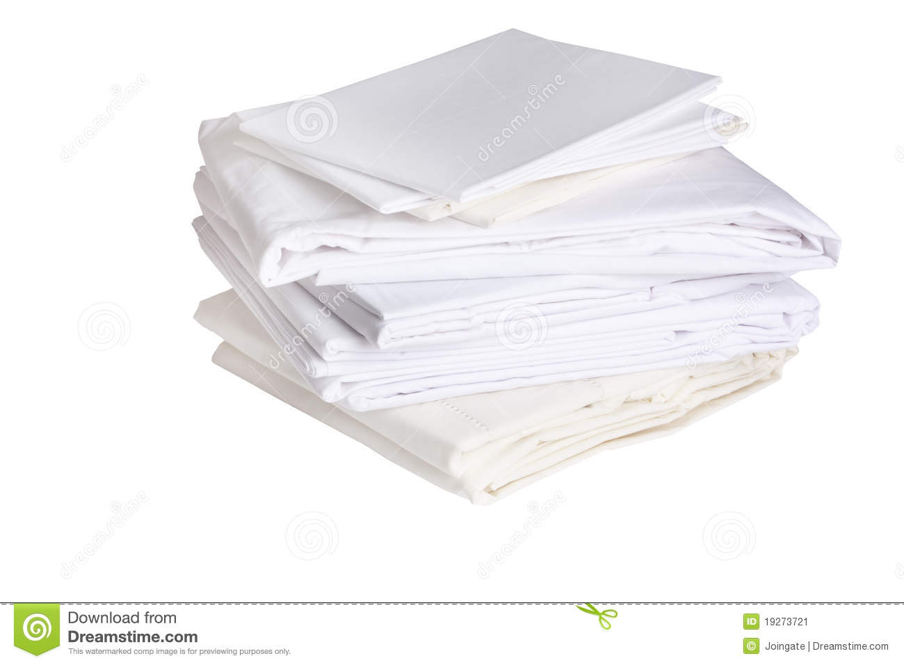 Pile Of Ironed White Bed Sheets Stock Image - Image: 19273721