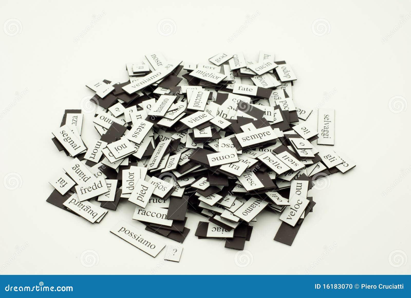 English In Italian: Pile Of Italian Words Stock Photo