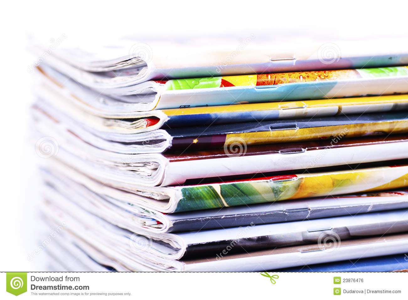 Pile of magazines isolated