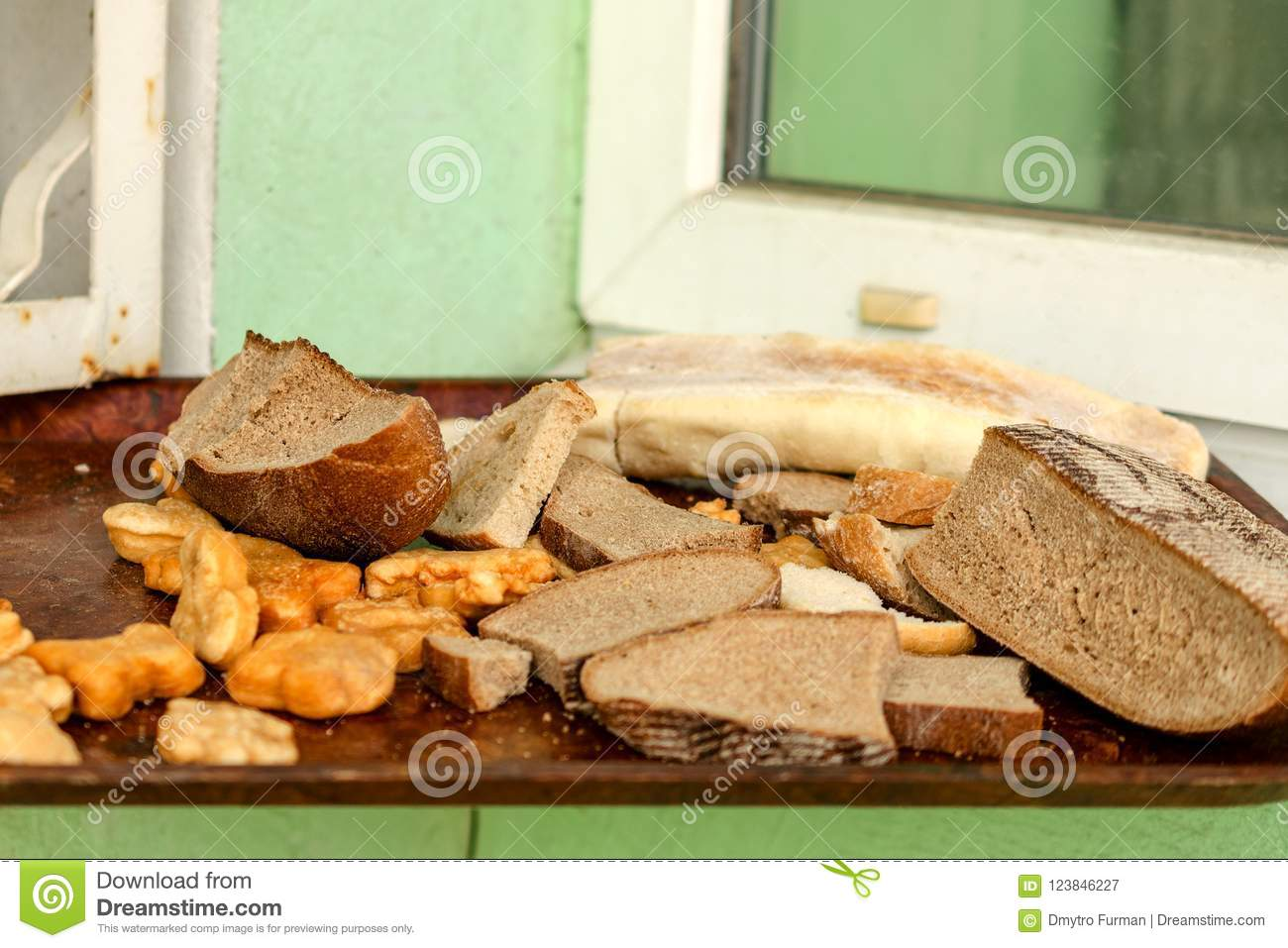 Pile Of Many Slices Of Stale Bread And Other Stale Baked