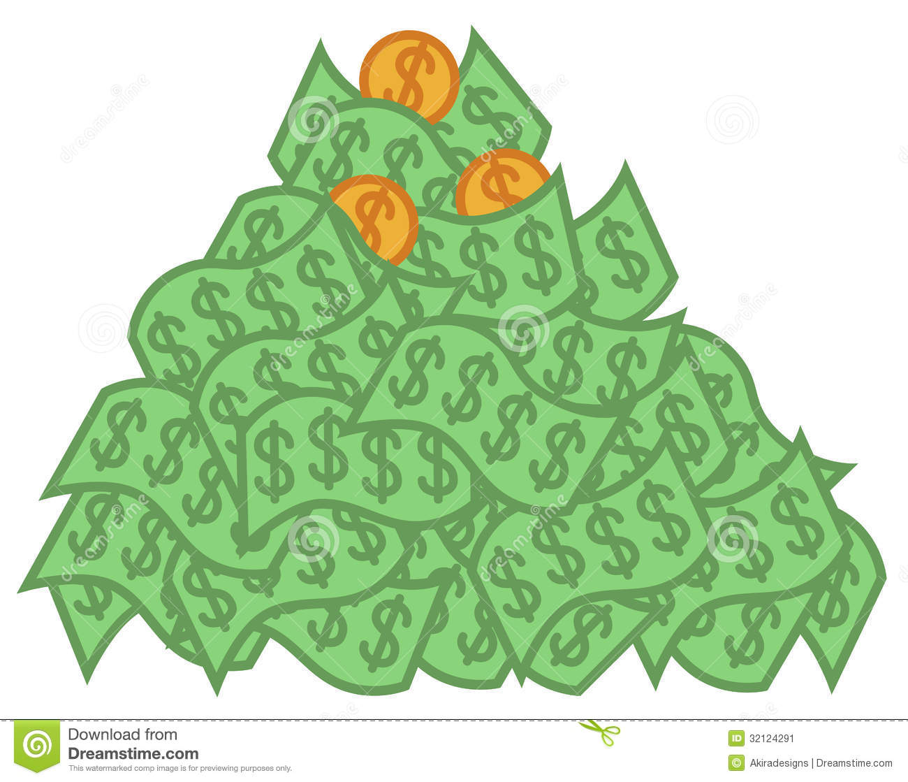 Cartoon vector illustration of big pile of money.
