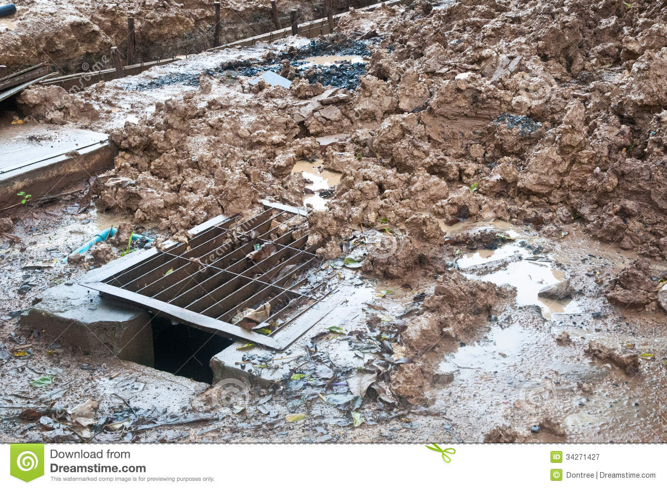 Pile of mud at construction site