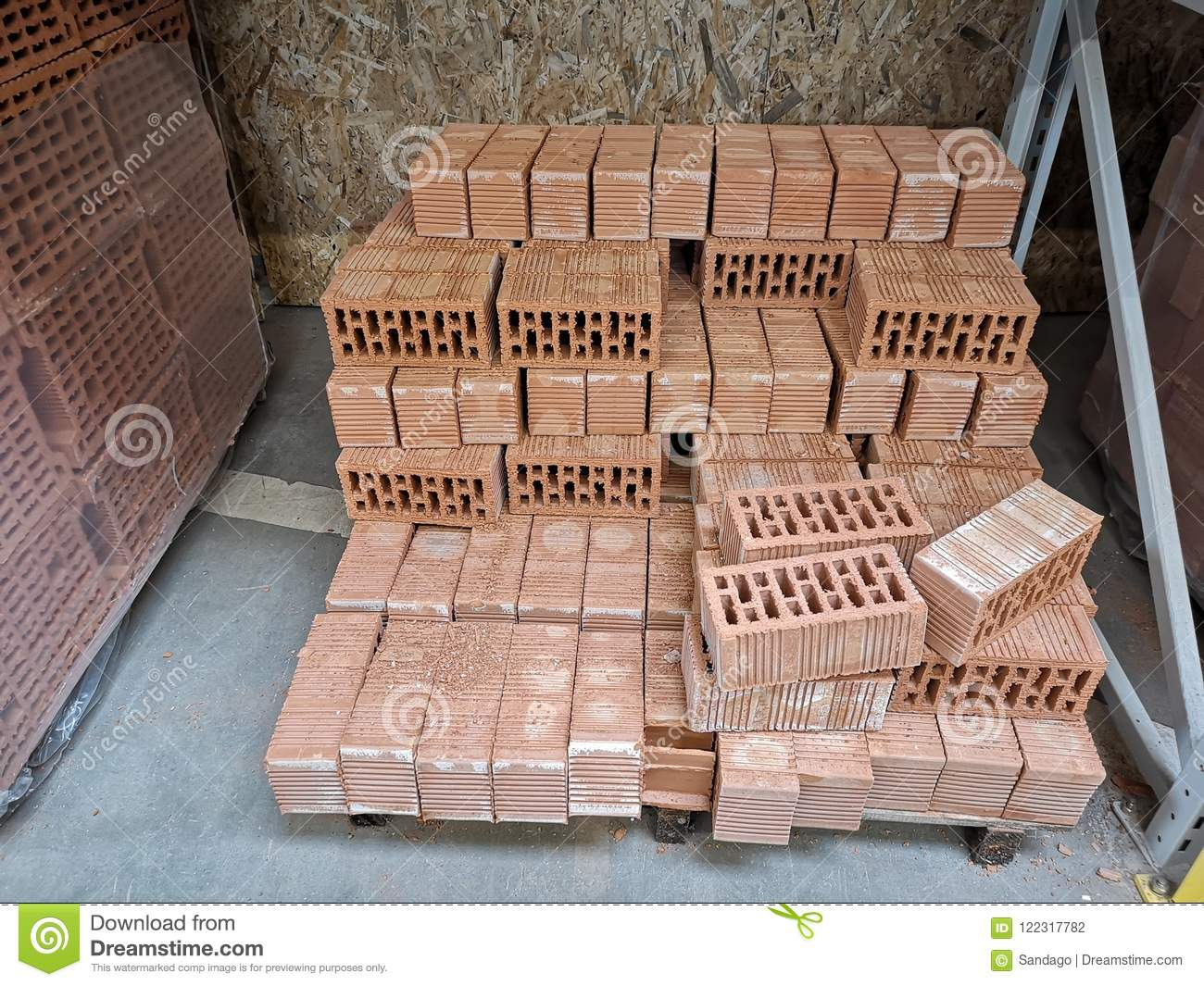 Pile Of New Bricks For Construction  Group, Material  Stock