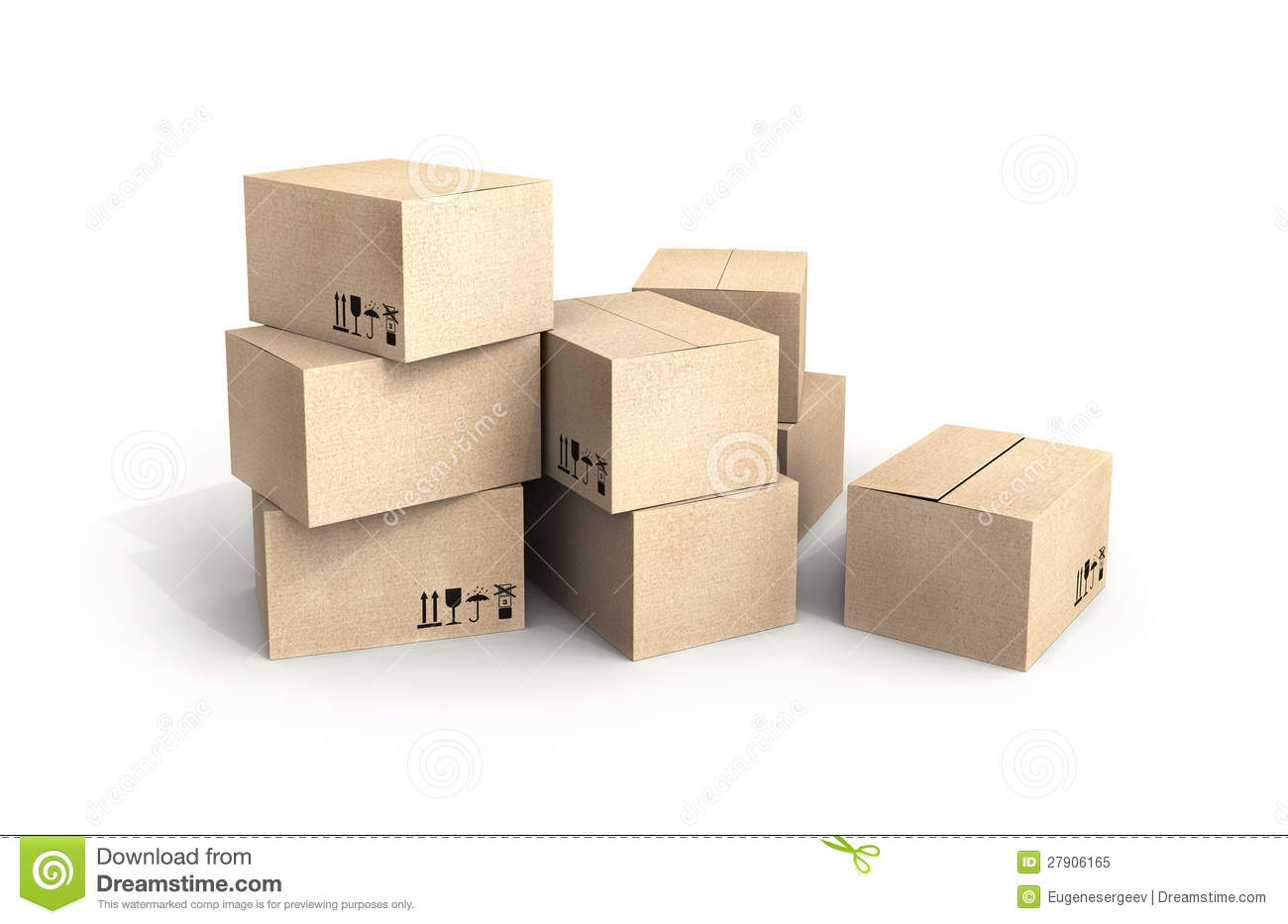 Pile of new cardboard boxes on white royalty free stock