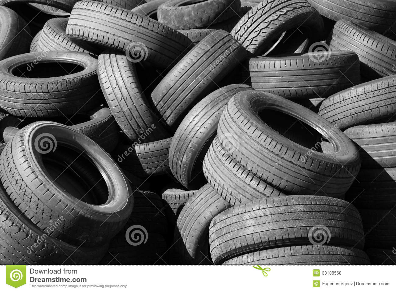 Pile of old automotive tires