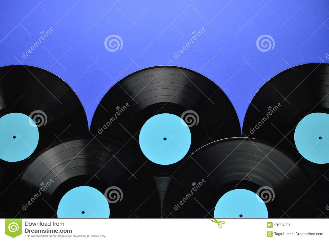 pile of old black vinyl records on blue stock image image of disk