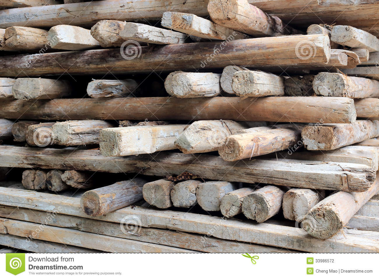 Pile of old and dirty lumber stock photography image