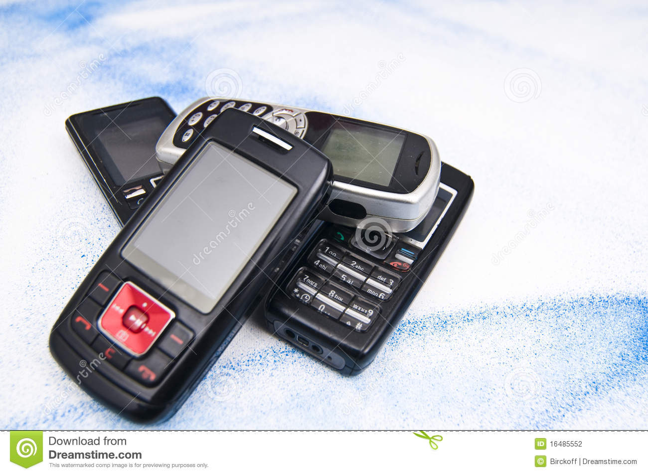 Pile Of Cell Phones : Pile of old mobile phone stock photography image