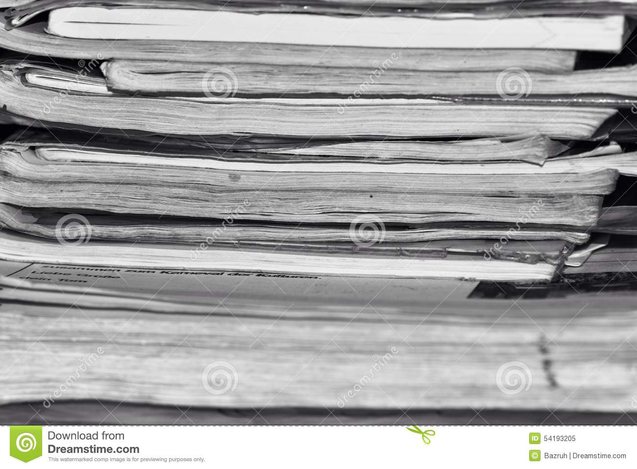 Pile of old notebooks, black and white photo