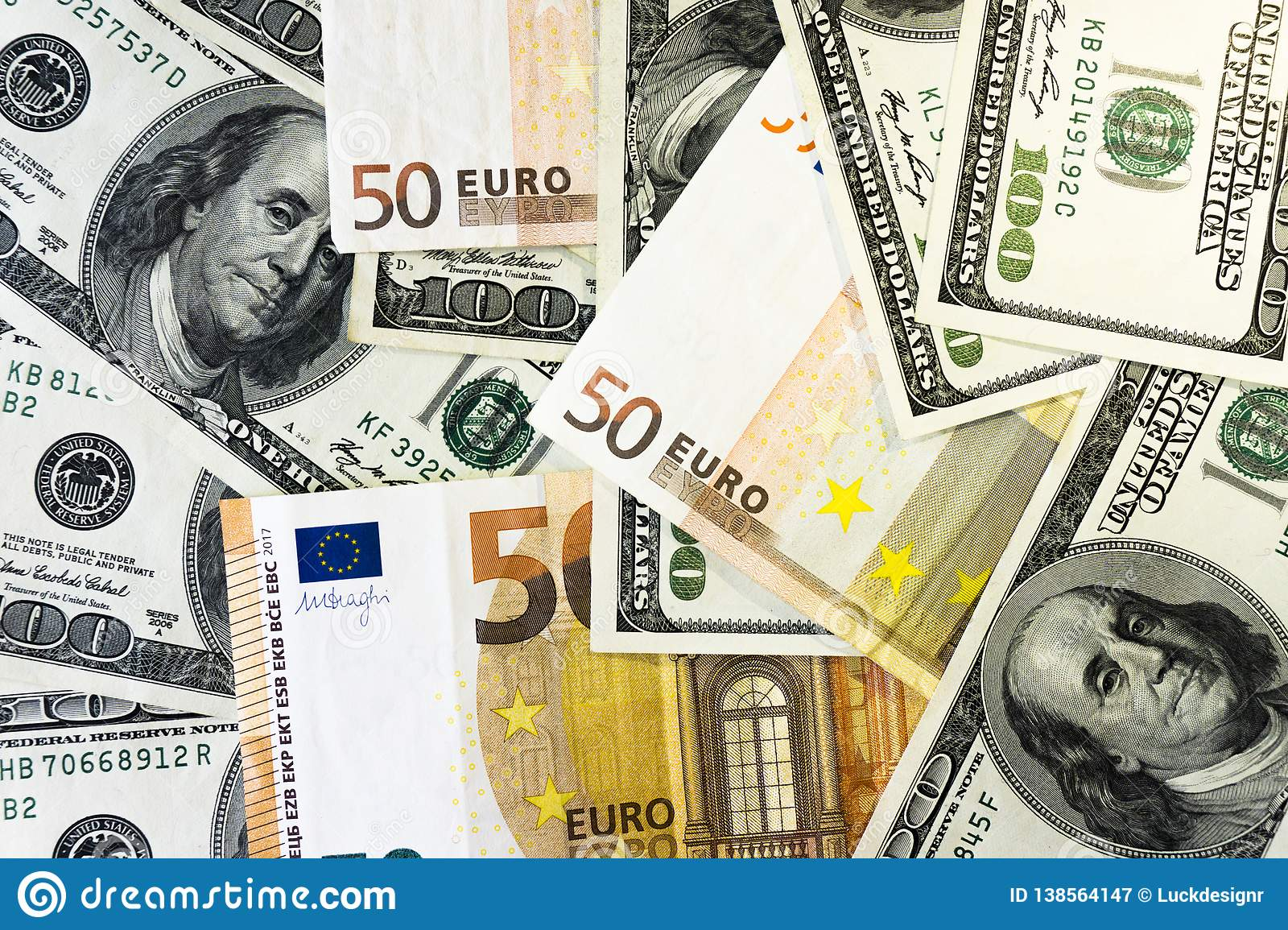 A Pile Of One Hundred Dollars USD And Fifty Euros EUR Background Close Money
