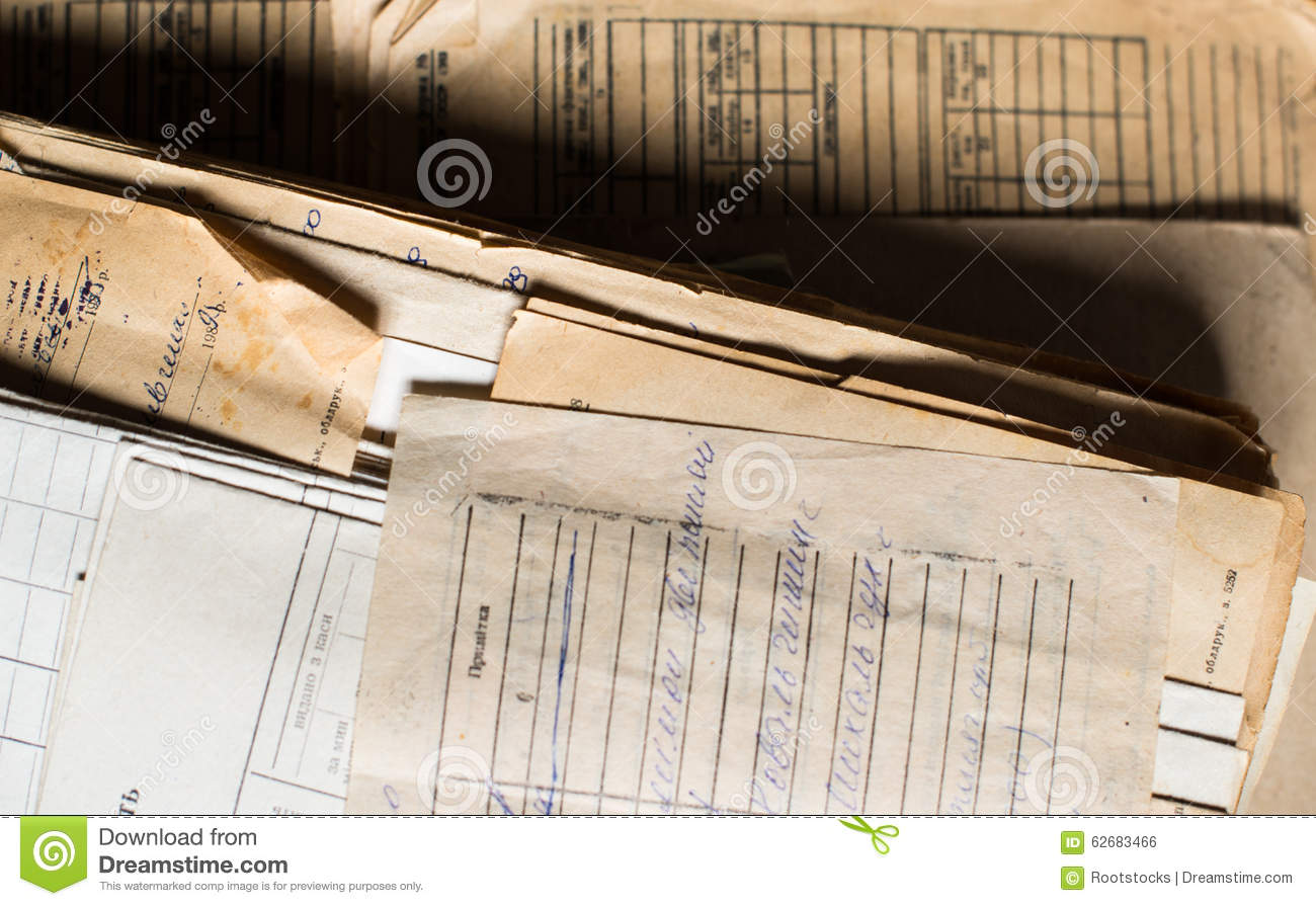 Pile Of The Old Paper Documents In The Archive Stock Photo - Image ...