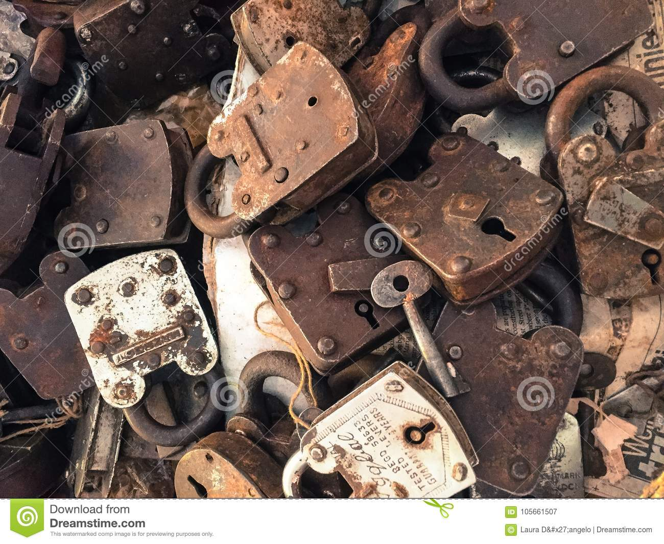 Antique Locks & Keys For Sale Editorial Photography - Image of rust