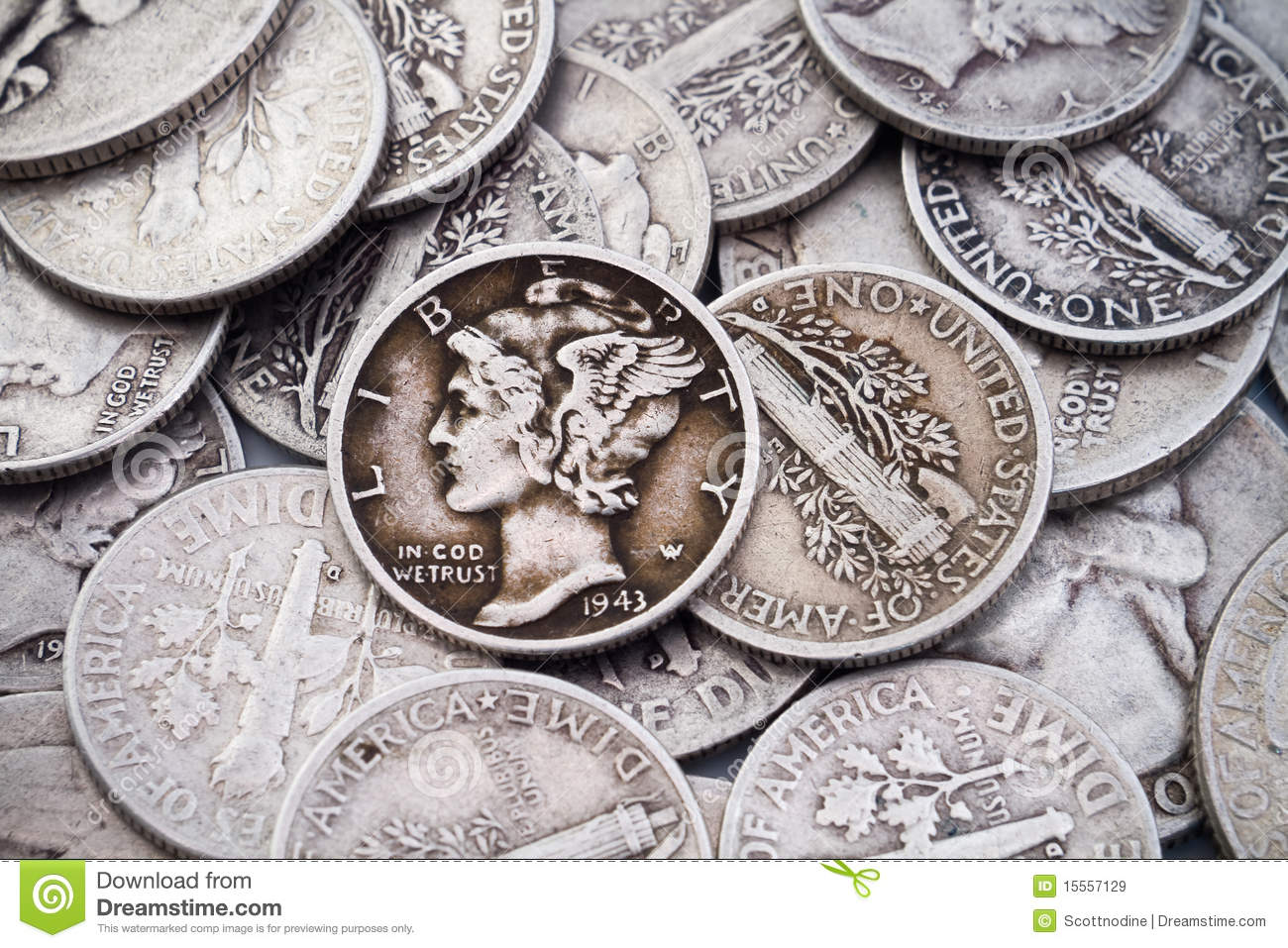 Pile Of Old Silver Dimes Quarters Stock Image Image