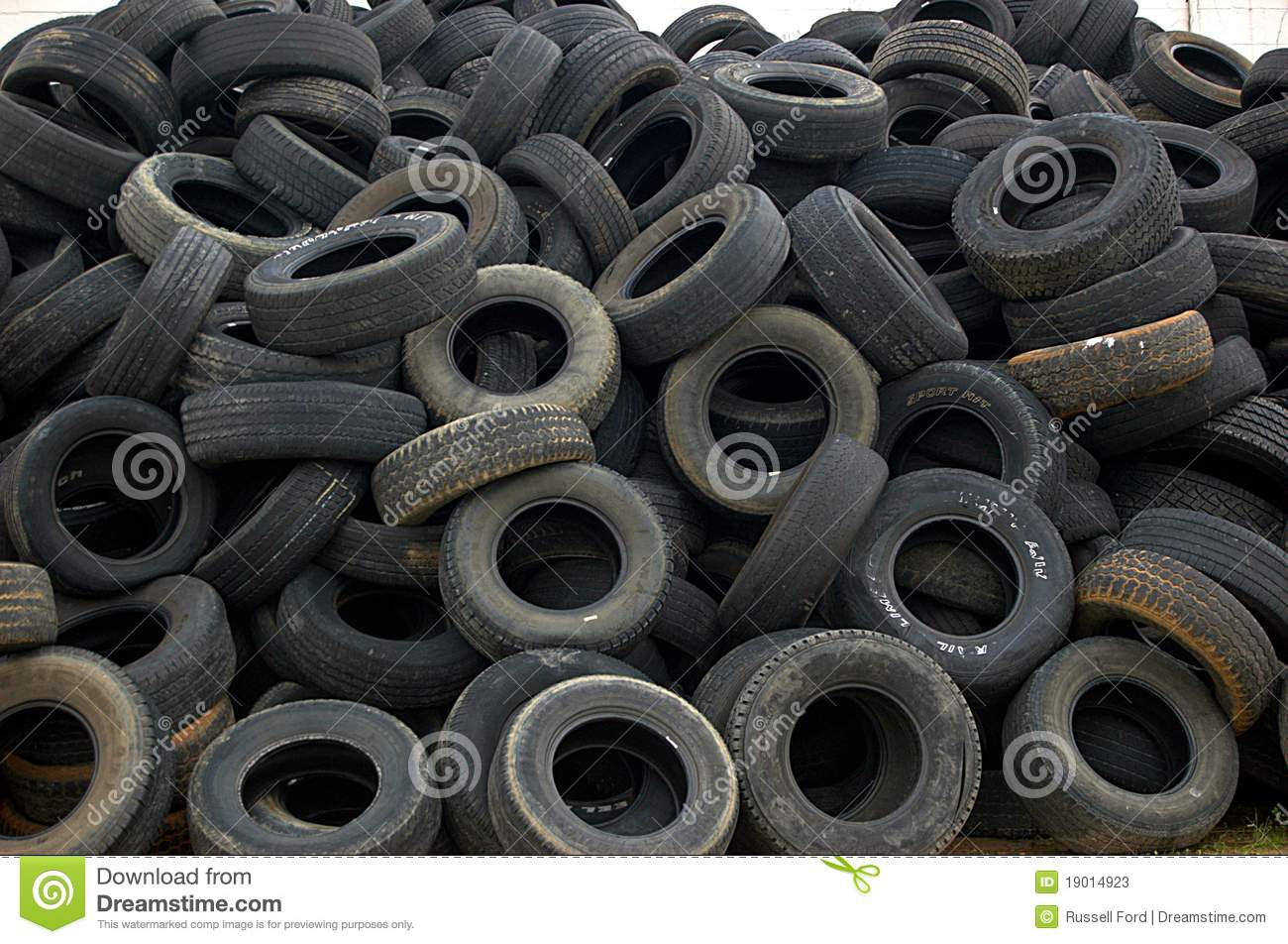 Pile of old used autombile tires