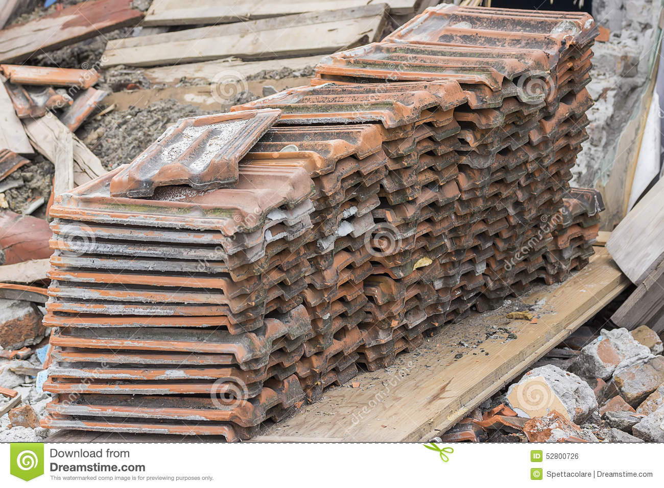 Pile Of Old Used Roof Tiles Stock Photo Image Of Pile