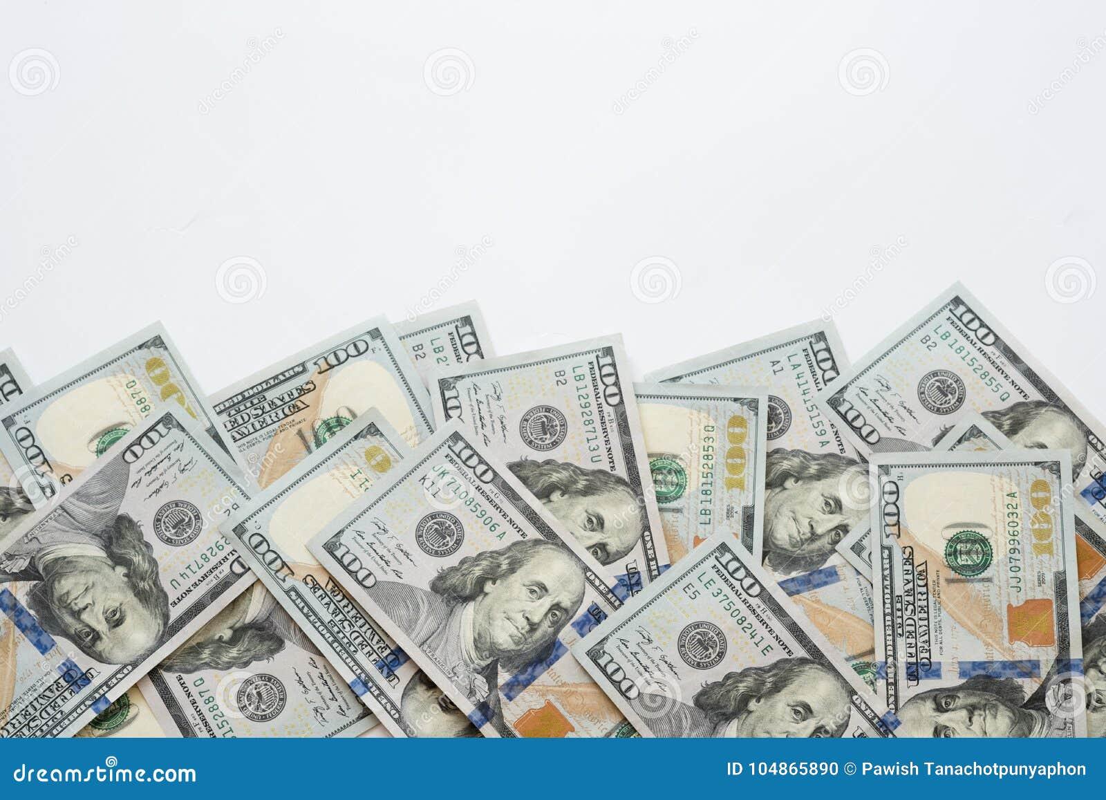 Pile of one hundred US Dollar Bills money on white back