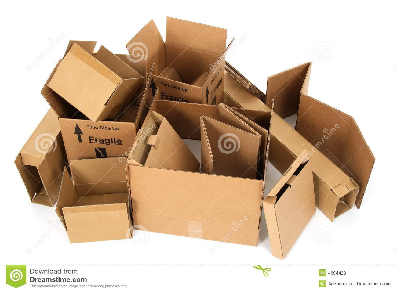 Pile of open cardboard boxes stock image