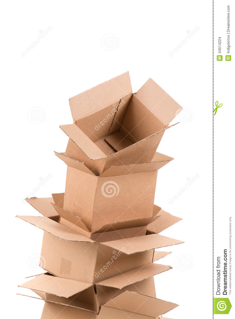 Pile of open cardboard boxes stock photo image