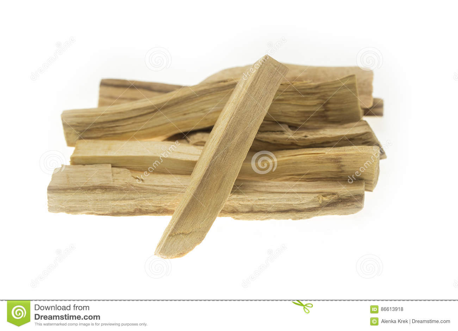 Pile of palo santo or holy wood sticks isolated on white background
