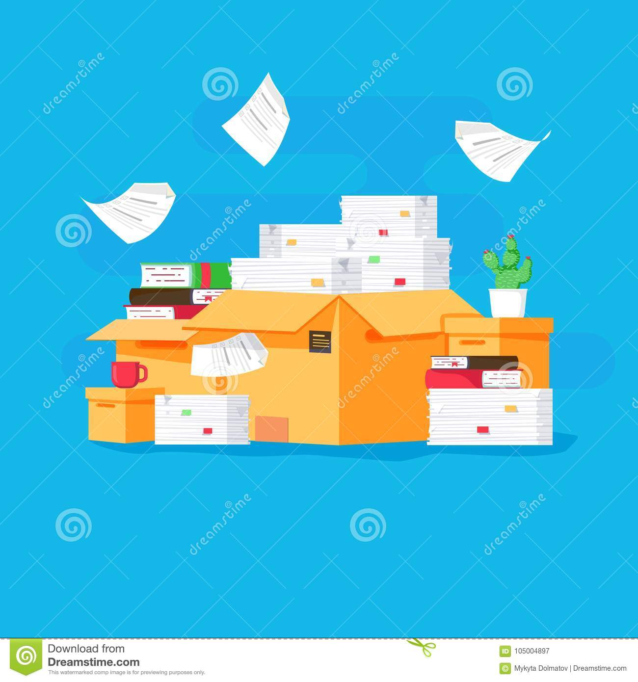 Pile of paper documents and file folders. Carton boxes. Bureaucracy, paperwork, office. Vector illustration