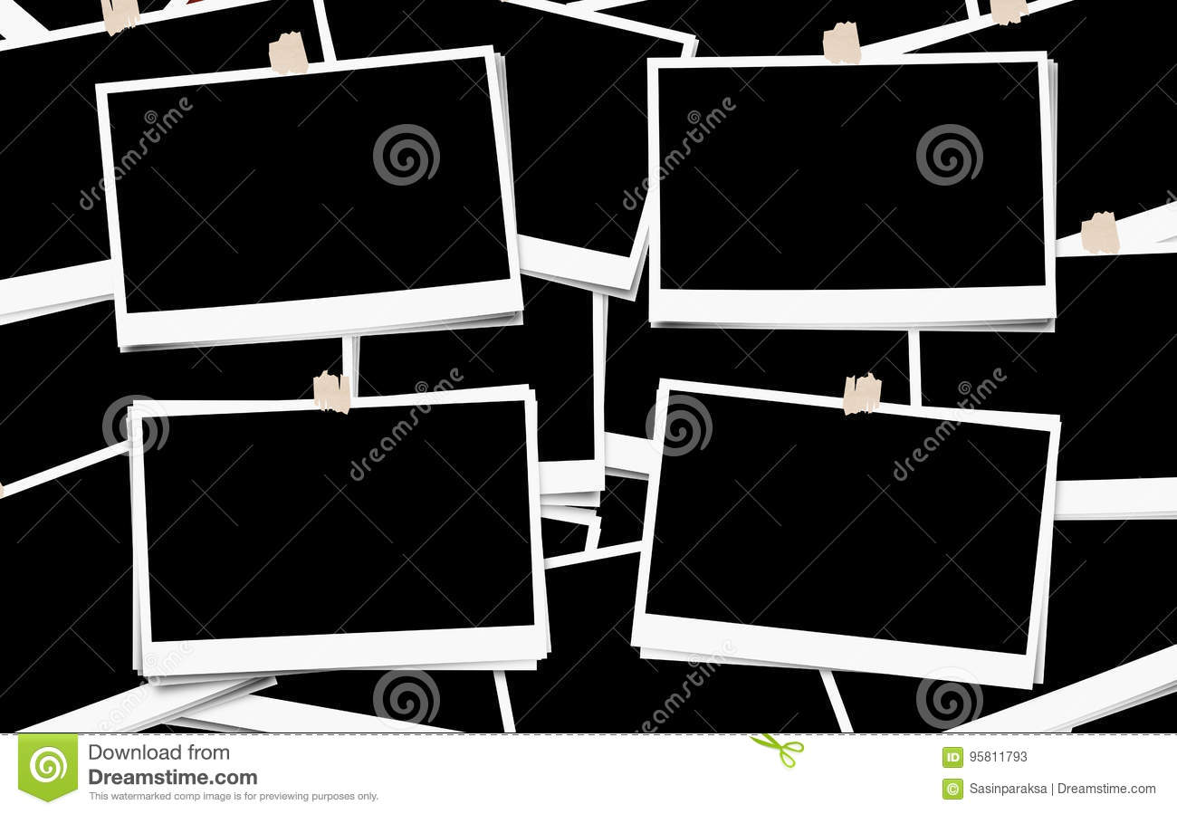 Pile of photo frames, with blank empty for copy space